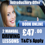 2 Beginner Introductory Manual Driving Lessons Offer £47.00 pounds