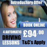 4 Beginner Introductory Automatic Driving Lessons Offer £94.00 pounds
