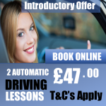 2 Beginner Introductory Automatic Driving Lessons Offer £47.00 pounds